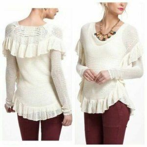 Angel of The North Crochet Sweater Ivory Open Knit
